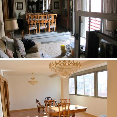 Antes y después salón vivienda