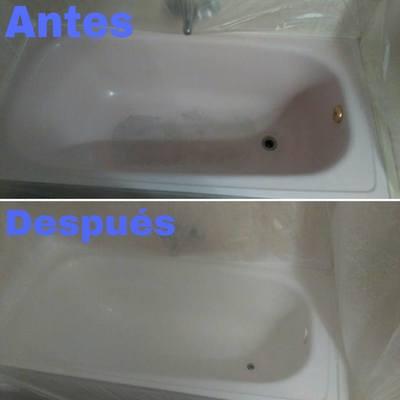 Esmaltado de bañera completa blanca