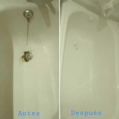 Reparación, eliminación de óxido y esmaltado bañera blanca