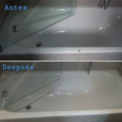 Reparación y esmaltado de desconchon en bañera blanca