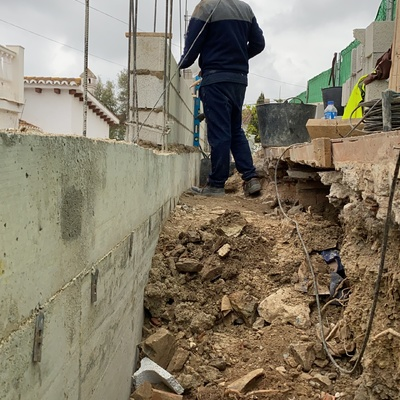 Replanteo de muro con bloques