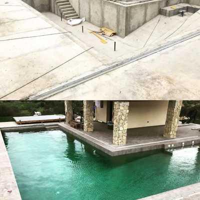resultado final de la construcción de la piscina