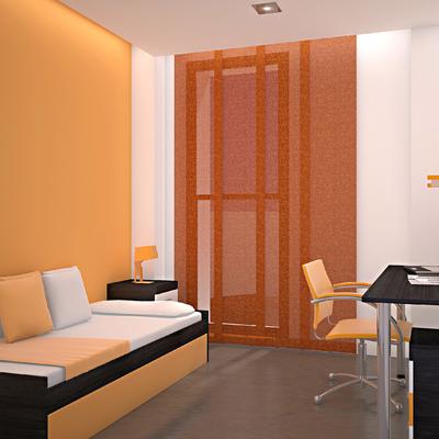 Infografía 3D de dormitorio individual.