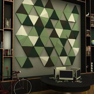 Paneles acústicos decorando pared
