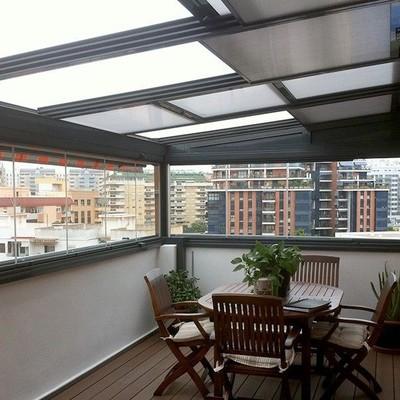 Terraza techo acristalado