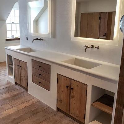 Baño microcemento y madera
