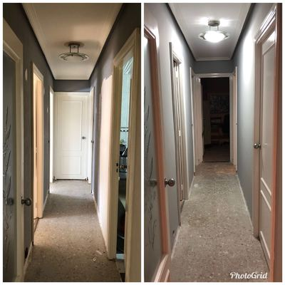 Alisado de paredes y veloglass en techo de pasillo/ distribuidor