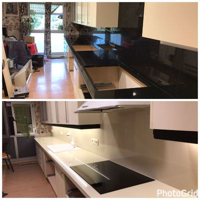 El antes y después de una encimera y frente con material porcelánico