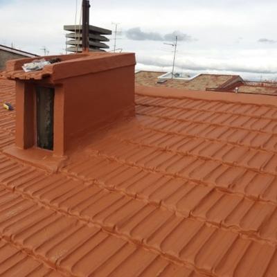 Impermeabilizacion de tejado con fibra de vidrio y resinas