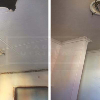 Alisado y reparación de techo de escayola
