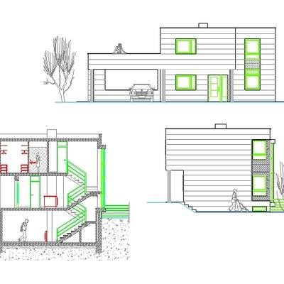 Alzados y seccion vivienda cad 2D