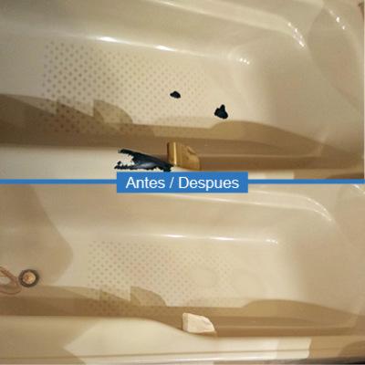 Reparación y esmaltado de desconchones en bañera beige