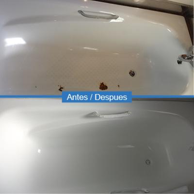 Reparación y esmaltado de desconchones en bañera blanca
