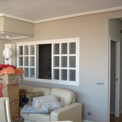 Apertura tabique, colocación ventana acristalada