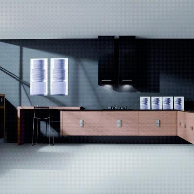 Aran rechapado ocre combinado con aran negro alto brillo de muebles suspendidos