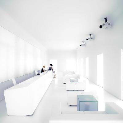 Sala de recepción de Arena Media en Madrid