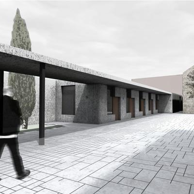 Vista exterior salas artistas-porche-zona ajardinada,Centro Cultural en la Helios