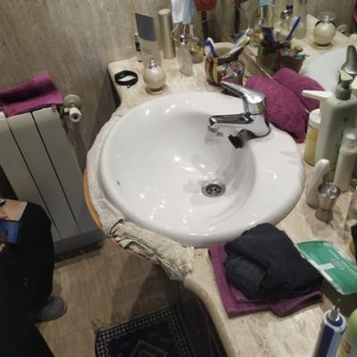 Rotura encimera de baño en mármol Travertino