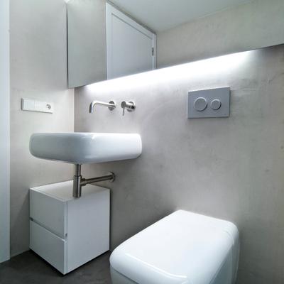 baño diseñado con sanitarios de diseño y microcemento