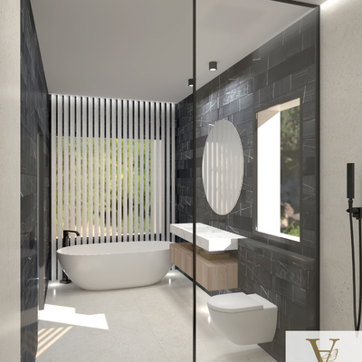 Diseño Baño negro y blanco