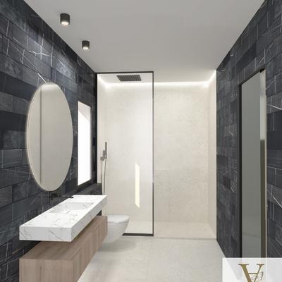 Diseño de baño blanco y negro