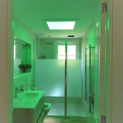baño con luz color verde