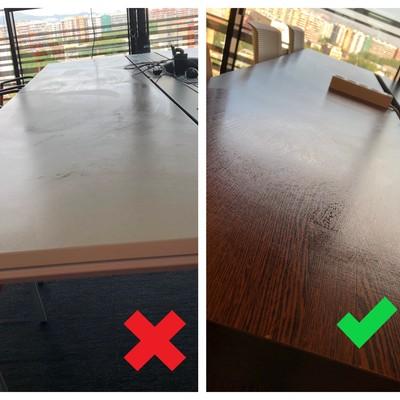 Desempolvado e higienizado de una mesa de madera.