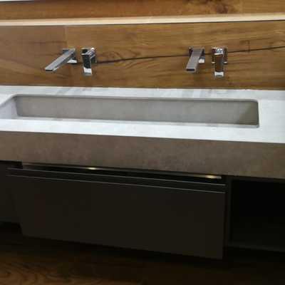 xtone botegga dark baño  fregadero mismo material