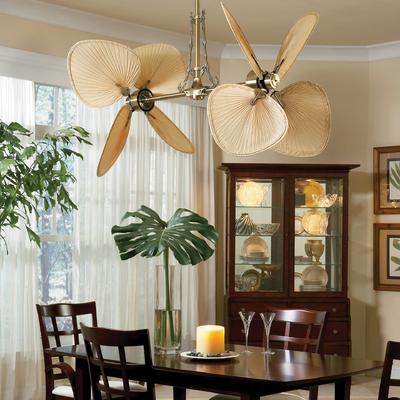 CASA BRUNO ventilador de techo Palisade, latón antiguo con aspas de palmera natural