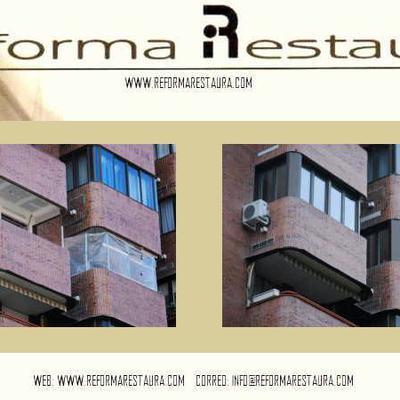 Cerramiento  bi-color en aluminio exterior y pvc blanco interior