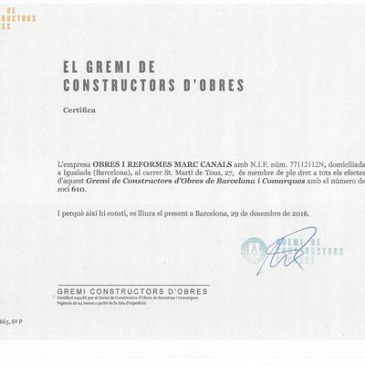 Certificat Gremi Constructors Barcelona.