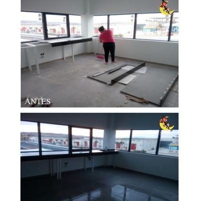 Antes y despues en Obra oficinas