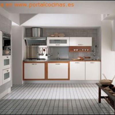 Cocina blanca y haya