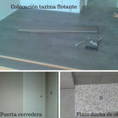 Tarima flotante, puerta corredera y plato ducha de obra