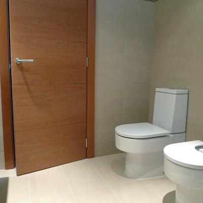 Colocaión de puerta y muebles sanitarios en baño