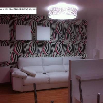 Composición salón con papel pintado