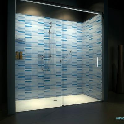 Convertir bañera en ducha azul