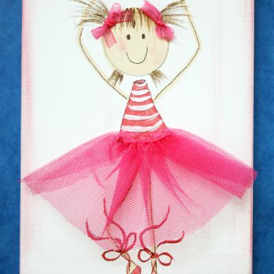 Cuadro infantil de bailarina pintado a mano