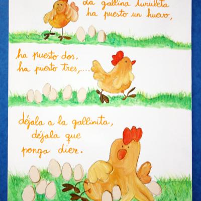 Cuadro infantil de la gallina turuleta