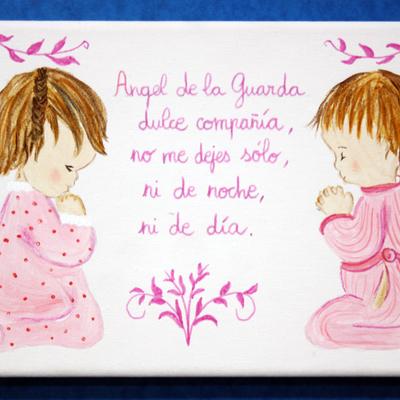 Cuadro infantil pintado a mano del ángel de la guarda