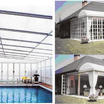 Cubierta de piscinas y Porche con PAREDES MÓVILES PLEGABLES apertura100%