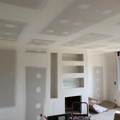 Falso techo , trasdosado y mueble con chimenea