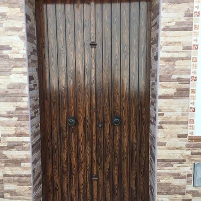 Puerta de hierro(imitación madera)