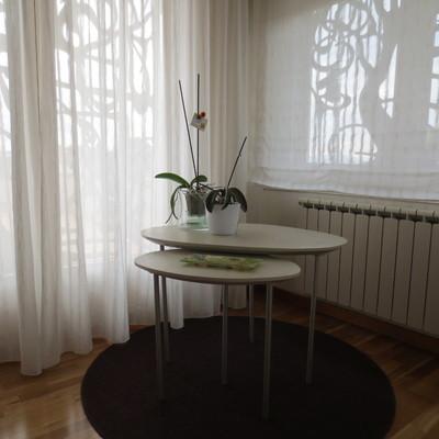 decoración, cortinas, complementos