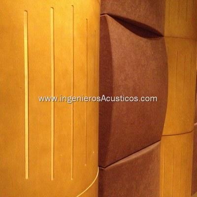 Detalle de difusor acustico y absorbente acustico