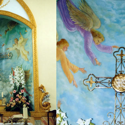 Detalle y pinturas Altar Mayor Inglesia de la Cruz (Sangonera la Verde).