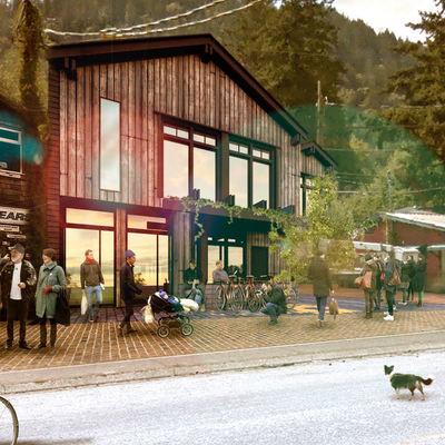 3d render exterior vivienda y local comercial