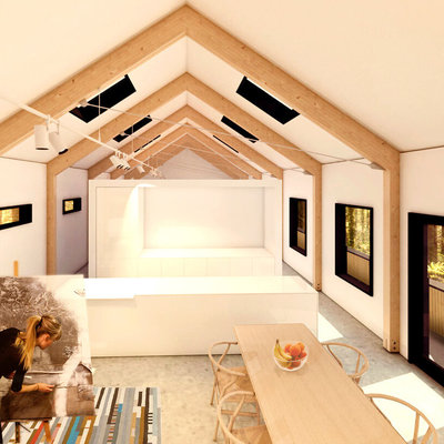 3d render  interior casa con estudio