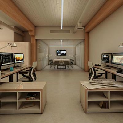 3d render  local comercial y oficina