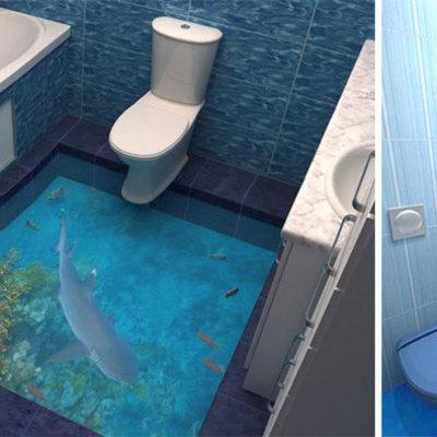 Baños con suelos 3d